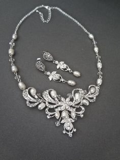 Brides jewelry set  Pearl necklace and by QueenMeJewelryLLC