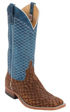 Anderson Bean® Men's Tan Loch Ness with Blue Lava Diamond Double Welt Square Toe Cowboy Boot