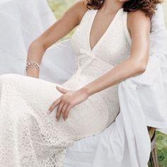 Watters & Watters White Lace Halter Wedding Dress
