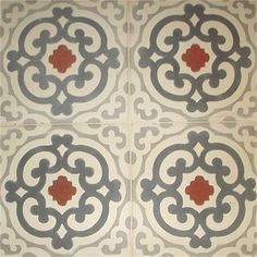 Cement Art Deco Tiles. White background with light grey, dark grey and red elements in a repeating pattern.