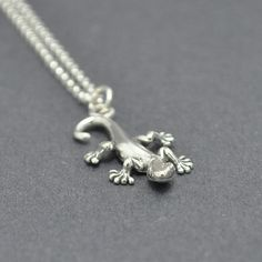 Gecko Pendant Sterling silver gecko necklace by SexySirenDesigns