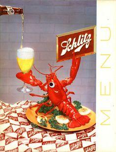 Schlitz beer menu folder Lobster dinner 1955 vintage original