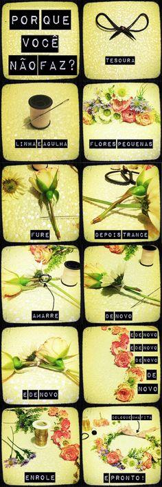 como fazer coroa de flores para cabelo