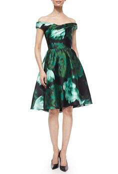 Brides.com: . Off-the-shoulder floral ikat fit-and-flare dress, $1,995, Lela Rose available at Bergdorf Goodman