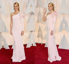 Gwyneth Paltrow Pink Single Long Sleeve Evening Dresses 2015 87TH Oscar Full Length Celebrity Dresses Handmade Flowers Simple Prom Gowns #dhgatePin