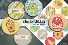 Try these cute little monsters for your next crafting projects. Set contains 2.5 and 2 inch circles on an easy to print digital collage sheet. Create hang tags, cards, and other projects. https://www.etsy.com/listing/601589331