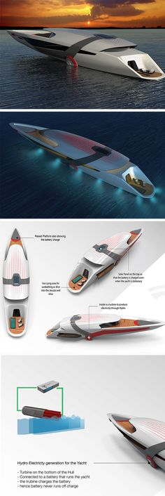 The all-electric Tesla Model Y yacht is a self-sustaining design that charges itself, with a little help from the sun and sea.