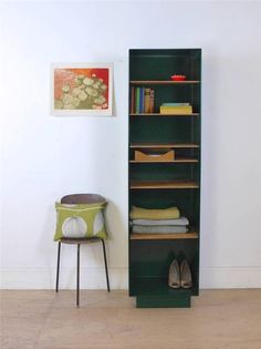 Tall Slim Green Steel Pigeon Hole Storage Cabinet / Shelf Unit / Cupboard in Antiques, Antique Furniture, Cabinets