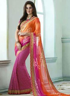 Pink Orange Lace Border Brasso Georgette Foil Fabric Half N Half Sarees http://www.angelnx.com/Sarees/Designer-Sarees