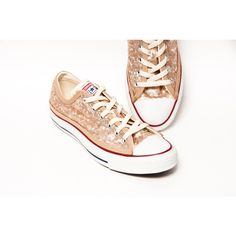 Sequin Champagne Gold Converse Canvas Low Top Sneakers Tennis Shoes (74.370 CLP) ❤ liked on Polyvore featuring shoes, sneakers, pink, sneakers & athletic shoes, tie sneakers, women's shoes, pink sneakers, off white sneakers, tennis shoes and sequined sneakers