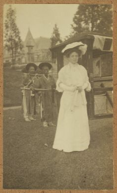 [Western woman with Korean bearers and palanquin] Date: ca.1904 / Alice Roosevelt with the palanquin provided by the Korean government and her Korean runners. Collection: Willard Dickerman Straight and Early U.S.-Korea Diplomatic Relations, Cornell University Library