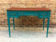 antique teal | Vintage Desk In a Perfect Teal by minthome on Etsy