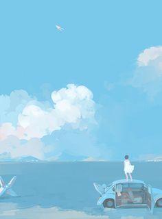 The Art Of Animation, Bangqiao Yan -. Cute Wallpapers, Wallpaper Backgrounds, Iphone Wallpaper, Japon Illustration, Himmelblau, Anime Scenery, Aesthetic Art, Ciel, Cute Art