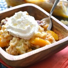 Peaches & Cream Dump Cake. 6 ingredients - just dump & bake!