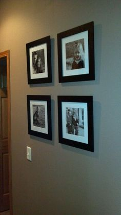 Square picture frame display of instagram pics of fruit & veggies in kitchen