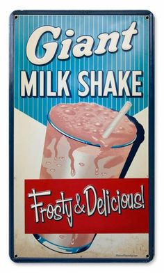 This Milkshake Metal Sign adds retro style to your kitchen. It's sure to make guests feel like they've just stepped into an ice cream parlor! Vintage Tin Signs, Vintage Walls, Retro Vintage, Vintage Style, Vintage Ephemera, Vintage Colors, Advertising Signs, Vintage Advertisements, Diner Decor