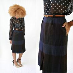 vintage 70s STRIPES wool MIDI skirt size M by PasseNouveauVintage, $49.00