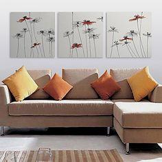 Stretched Canvas Print Art Floral Slimsy Stem Set of 3 – USD $ 59.99
