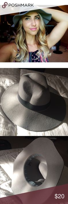 Fashion Sun Hat This sun hat has only been worn once! There are no imperfections. It is grey with a black ribbon. Other