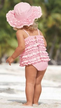 Pink ruffle tankini so Cute- For the next baby girl! My Baby Girl, Baby Kind, Baby Love, Cool Baby, Everything Pink, Fashion Moda, Beautiful Children, Kind Mode, Little Princess