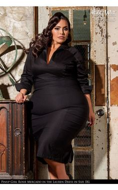 Pinup Couture- Lauren Dress in Solid Black - Plus Size | Pinup Girl Clothing