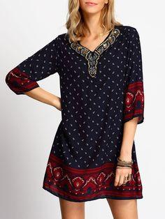 Vestido estampado étnico suelto-(Sheinside)