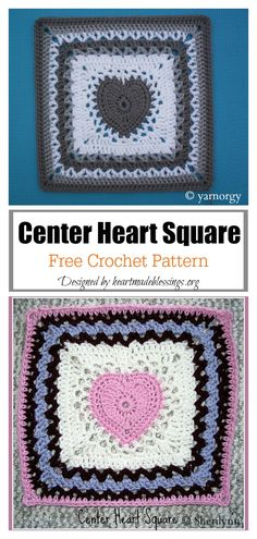 The Heart Granny Square Free Crochet Pattern shows how to make a granny square with a heart in the middle. They can be joined together for a baby blanket. Heart Granny Square, Granny Square Slippers, Motifs Granny Square, Granny Square Pattern Free, Sunburst Granny Square, Granny Squares, Free Crochet Square, Crochet Square Patterns, Crochet Blocks