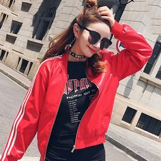 Leather jacket 2017 autumn winter casual black red retro baseball coat for women students ribbed cuffs solid color basic outwear -- View the item in details on www.aliexpress.com by clicking the image #Womensjackets