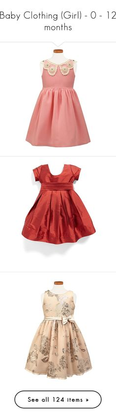 """""""Baby Clothing (Girl) - 0 - 12 months"""" by dezac-novaes on Polyvore featuring dresses, paisley day dress, lined dress, charcoal grey dress, zip back dress, long velvet dress, red print dress, red day dress, button dress e mixed print dress"""