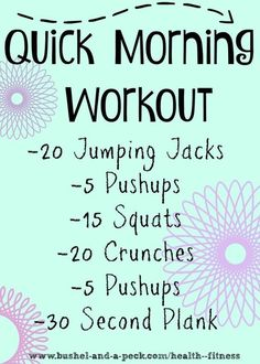 A quick workout is better than no workout! No excuses, do this one now! :) Exercise You Want. Fun Cardio Fitness Training And Fat Burning Exercises Like Burpees. Ad These Work Out Ideas To A Healthy Weightless Diet And Make Losing Weight Quick And Easy. Your Shape And Your Motivation Will Go Way Up. These Quick Easy Workouts, Total-Body Workouts, and Full-Body Workouts Are Great. Need Quick Exercises For The Morning Or A Quick Gym Workout? We Got You.
