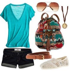Turquoise t-shirt, jean shorts, brown belt, and southwestern print backpack.