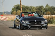 BMW grey cabrio slammed the good life Rolls Royce Motor Cars, Bmw M4, Custom Bmw, Custom Cars, Audi A3, Bmw M6 Convertible, M4 Cabriolet, Carros Bmw, Bmw Performance