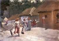 Włodzimierz Tetmajer. Rozmowa na wiejskiej drodze. 1905-1915. Olej na płótnie. 49,5 x 68,5 cm. Muzeum Narodowe, Warszawa.