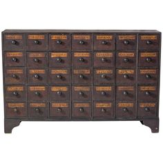 Antique Mahogany Apothecary Cabinet / Bank of Drawers, circa 1875 For Sale