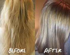 Before and after. Shiny, nourished, healthy! Made with coconut oil, argan oil, shea oil, marula oil and buriti oil. www.liquidgoldhairoil.com