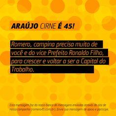#MensagemPorAmorACampina enviada através do site http://romero45.com.br/ Obrigado pelo apoio e confiança Araújo. Conto com seu voto.