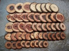 50 Mixed Wood And Size Buttons 5 Wood Types by PymatuningCrafts, $26.00