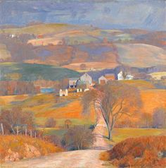 """DANIEL GARBER (American 1880-1958) """"OLD FARM IN THE HILLS"""" Signed 'Daniel Garber' bottom right, signed and inscribed with title on stretcher verso, oil on canvas 36 x 36 in. (91.4 x 91.4cm) #FreemansAuction"""