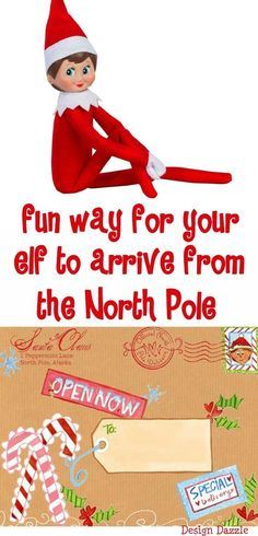 """A Fun Way For Your Elf To Arrive From The North Pole - Design Dazzle A fun way for your elf to arrive from the North Pole with our special North Pole label! Love the idea place the box in the freezer"""" (for the North Pole effect). Noel Christmas, Christmas Elf, All Things Christmas, Christmas Ideas, Christmas Crafts, Christmas Activities, Christmas Inspiration, Christmas On A Budget, Holiday Fun"""