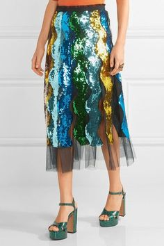 Gucci - Pleated Sequined Tulle Midi Skirt - Blue - IT38