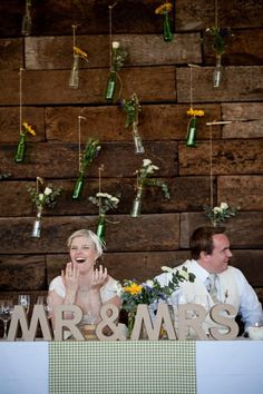 Giant Mr & Mrs Sign at the bride and grooms table