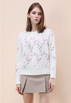 Pink embroidered flowers offer up a girl-next-door vibe to this cable knit sweater that you can always jazz up with skinnies and boots.  - Floral embroidery - Ribbed neckline, cuffs and hemline - Cable knit - Knit fabric provides flexibility - 100% Polyester - Hand wash  Size(cm) Length Bust Shoulder Sleeves S/M      58    106    40     62 Size(inch) Length Bust Shoulder Sleeves S/M      22.5   41.5    15.5    24.5  * S/M fits for US2-6 UK6...