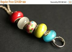 SUMMER SALE Beaded Lanyard. Checkered Badge Holder. Id Lanyard. Turquoise Lime Yellow and Red Badge Lanyard Badge Necklace. Glass Lanyard by Gilliauna from Bits n Beads by Gilliauna. Find it now at http://ift.tt/2uwmBrR!