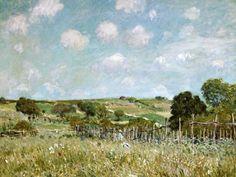Das Kunstwerk The Meadow. - Alfred Sisley liefern wir als Kunstdruck auf Leinwand, Poster, Dibondbild oder auf edelstem Büttenpapier. Sie bestimmen die Größen selbst.