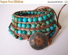 Justhipstuff wrap bracelet combines rustic brown leather cord with the gleam of pure beautiful hand selected Turquoise beads. These bracelets can be dressed up or down. They can be worn alone or layered for that trendy look of today and years to follow. 6mm round pure Turquoise beads are combined with a rustic patina copper button to form this wonderful wrap bracelet. Wraps 4 times around and fits wrist size 6 to 7 1/2. These also can be worn as a necklace. Ships in a gift box. Handma...