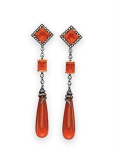 Fire Opal and Diamond Ear Pendants
