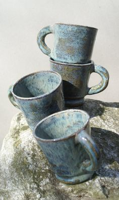 LOVE THESE!!!  Ceramic Coffee Mugs  Set of 4 by Curlygirliedesigns on Etsy, $61.00