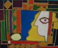 """Edwin Studer """"Constructivo con cara"""" Óleo sobre cartón 45 X 55 cms. Año 1998 http://portondesanpedro.com"""