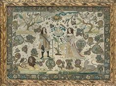 17th Century English embroidered picture man, woman, couple
