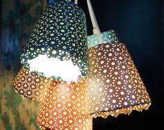 Luminária Pendente 5 Cúpulas Rendadas